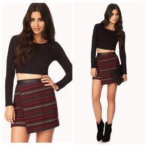 Wool Blend Jacquard Print Skirt w/Leather Trim